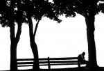 A jogger rests on the lakefront near North Avenue Beach in Chicago.