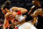 Joakim Noah during game 1 in the 2011 NBA playoff game against the Miami Heat.